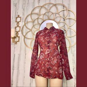 Brand New LOFT Burgundy floral blouse Medium